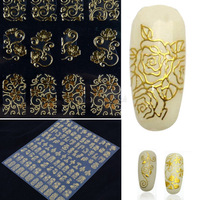 Large Size Bronzing Stickers 108 Pattern Sheet Paste Manicure Gold Flowers Nail Art Decoration Tool
