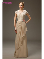 Champagne 2018 Mother Of The Bride Dresses A Line V Neck Cap Sleeves Chiffon Lace Long