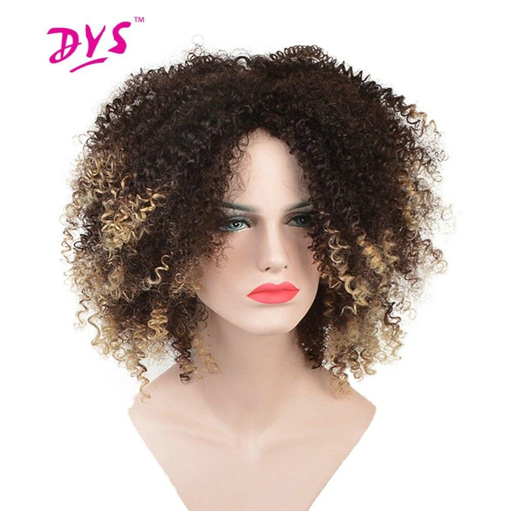 Deyngs Короткие афро кудрявый вьющиеся Искусственные парики для черный Для женщин ombre блондинка Цвет натуральных волос Искусственные парики с Синтетические чёлки волос Косплэй стрижка
