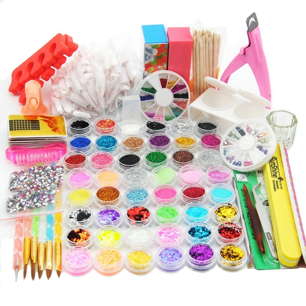 48 PC Glitter Powder Manicure Nail Kit Rhinestones 3D Design Acrylic Powder Gel Polish Nail Tips Gems Decoration Nail Tools Kit