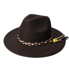LUCKYLIANJI Retro Women Men Vintage 100 Wool Wide Brim Cap Fedora Panama Jazz Bowler Hat Tassel
