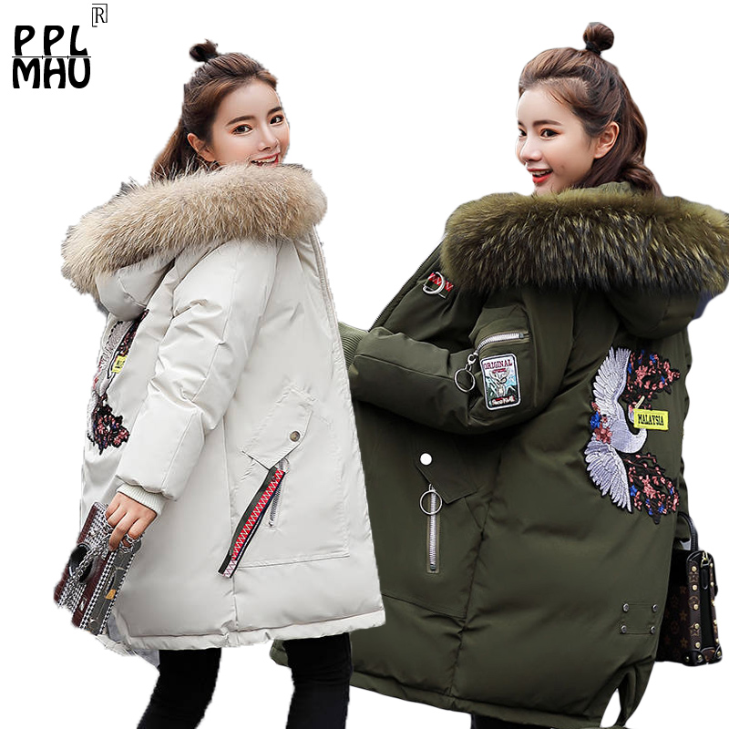 Big Fur Hooded Jacket Woman Winter Coat Pocket Button Embroidery loose plus size   Parka   Outerwear Female Long Winter Coat Women