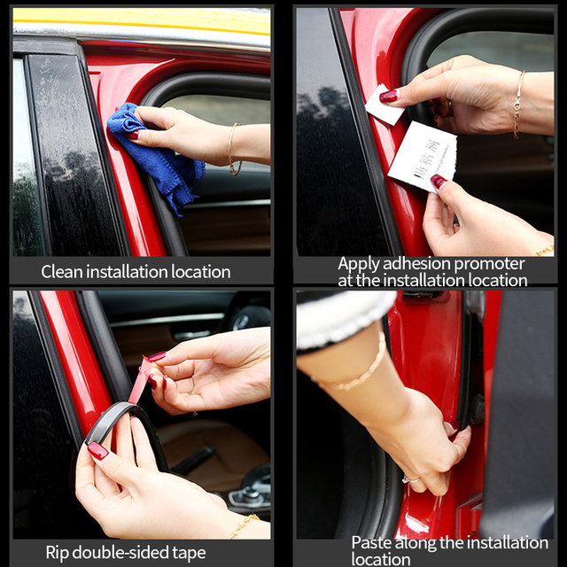 Car Door Seal Strip Auto Rubber Seals Strips Noise Insulation Soundproofing Weatherstrip Sound Proof Sealing Trunk Edge Stickers
