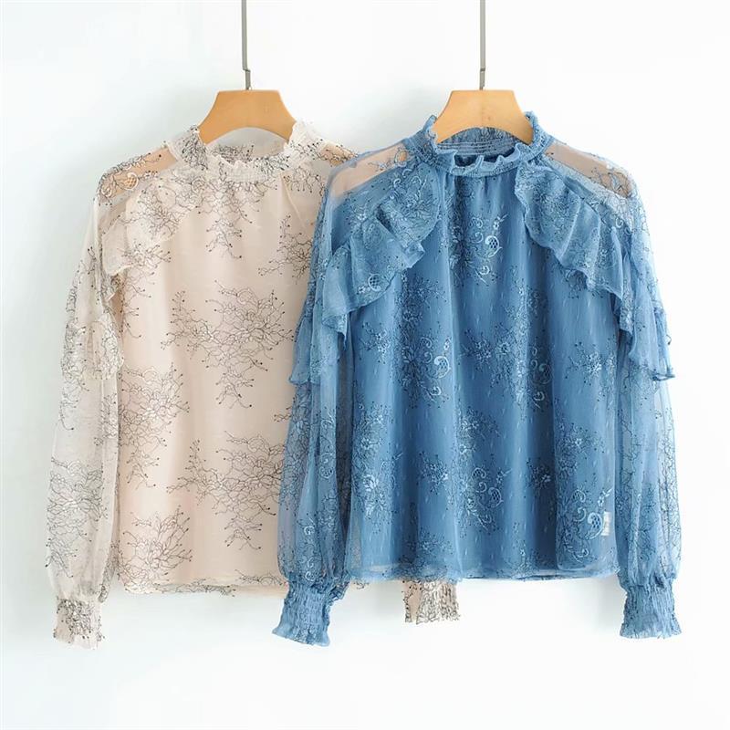 Haut pour femme 2019 printemps chemise de grande taille femmes chemises mode coréenne vêtements dentelle blouse voir à travers top femmes chemise sexy