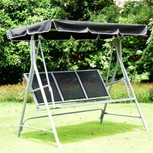 3 Persons Patio Powder Finish Canopy Deck Swing Bench Uv Resistant Outdoor Swings Garden Furniture OP3538(China)