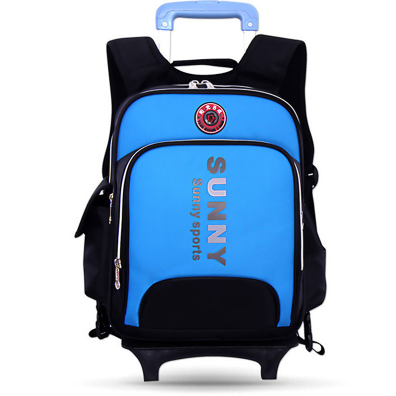 sunny latest removable children trolley schoolbag luggage school bags with wheels stairs kids boy book bags wheeled backpack