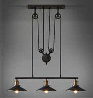 Europe Style Lamp Loft Lifting Pulley Pendant Chandelier Vintage Industrial Iron Lamp Fixture