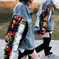 2019Spring Autumn jeans jacket womenClassical oil painting print silhouette denim jacket men and women loose denim