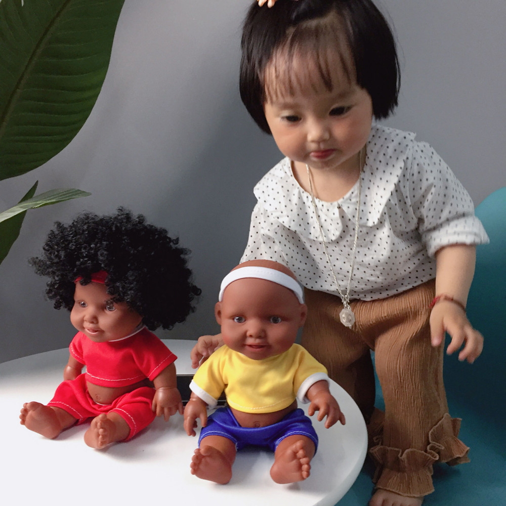 Funny Babys Dolls 10inch African Baby Doll Intellectual Children Movable Joint  Doll Toy Accessories For Baby