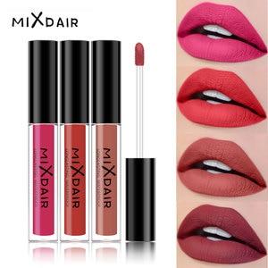 MIXDAIR Matte Lipgloss Sexy Liquid Lip Gloss Matte Long Lasting Waterproof Cosmetic Beauty Makeup Lipstick