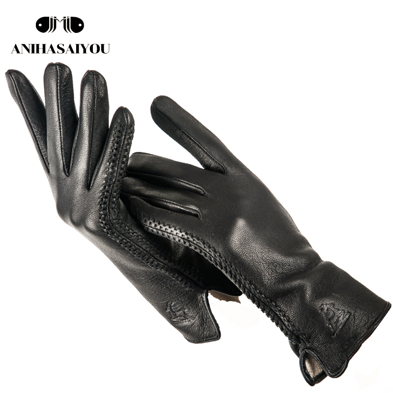 2019 High Fashion Black Leather Gloves Women,fashion Genuine Women's Leather Gloves,comfortable Mittens Women's Winter- LPDCB