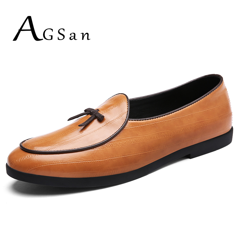 AGSan Split Leather Dress Loafers for Men Slip On Men Loafers Tassel Casual Shoes Designer Brown Mens Flats Italian Dress Shoes mycolen men loafers leather genuine luxury designer slip on mens shoes black italian brand dress loafers moccasins mens