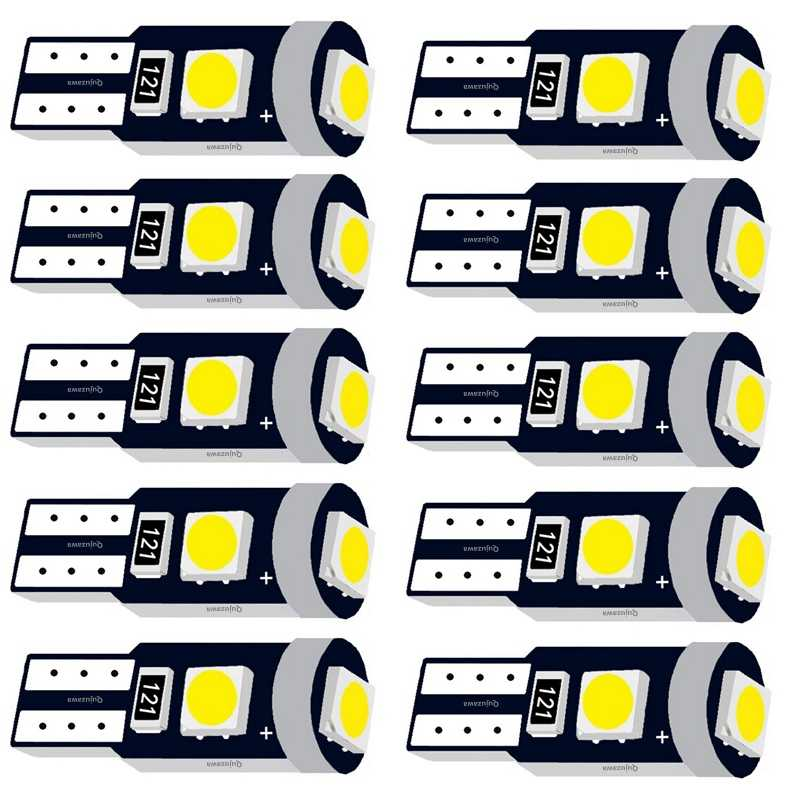 10PCS T5 73 74 W1.2W W2X2.6d 3 SMD 3030 LED Wedge Dashboard Gauge Lamps Car Warning Indicator Instrument Cluster Lights Bulb