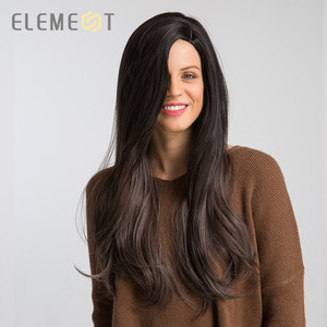Image 3 - Element Long Synthetic Natural Wave Wig With Side Fringe Natural Headline Glueless Ombre Hair Replacement Party Wigs for Women