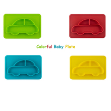 100% Silicone Material Baby Dining Plate Health Lovely Car Lunch Tableware Kitchen Fruit Dishes Children Bowl Feeding Food Plate