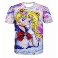 2017 Nova Sailor Moon cos moda camisa ocasional O-pescoço camisola impressão 3d mulheres/homens pullover verão Camisetas de manga curta camisetas