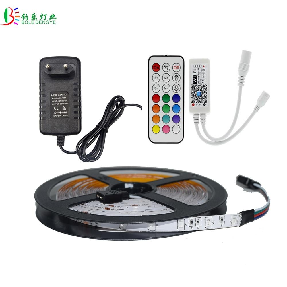 5050 2835 RGB WIFI LED Strip Waterproof Lighting Strips Diode Tape 5M RF Remote RGB WIFI Controller Sound Sensor LED Adapter