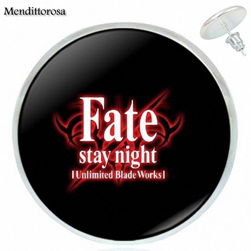 Fate Stay Night Saber Archer Assassin Rider Logo Glass Bronze/Silver/Golden Clip Ear Hook Stud Earrings