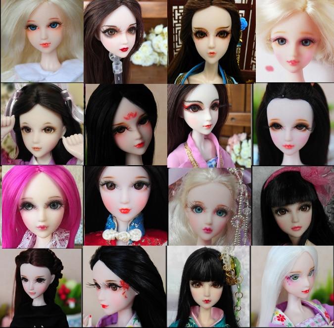 Tête de poupée de maquillage de première classe/yeux 3D vrais cils dessin à la main accessoires de tête de cheveux longs bricolage pour poupée de peau blanche Xinyi OB