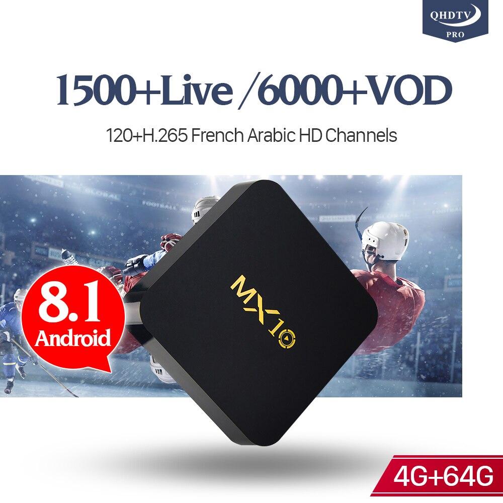 MX10 Android 8.1 IPTV Box 4G/64G RK3328 Octa Core 4K Set Top Box IPTV 1 Year QHDTV Pro Code Arabic French Europe Belgium IPTV