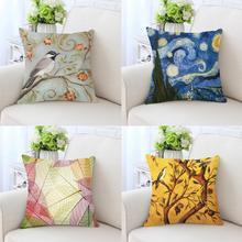 Cojín Vintage para decoración del hogar Estilo nórdico mariposa flor pájaro rama de árbol hojas acuarela cebra Van Gogh almohada para el sofá silla