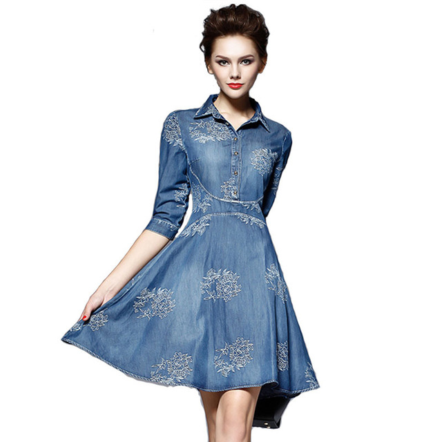Women Embroidery Plus Size Denim Dress Woman Casual Sexy bodycon bandage  dresses Ladies Desigual Vintage Retro ec701a9e854c