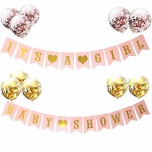 цена Pink Blue Paper Banner Decorations Baby Shower Its a Girl Boy Balloons Party Supplies Babyshower Gender Reveal Oh Baby в интернет-магазинах