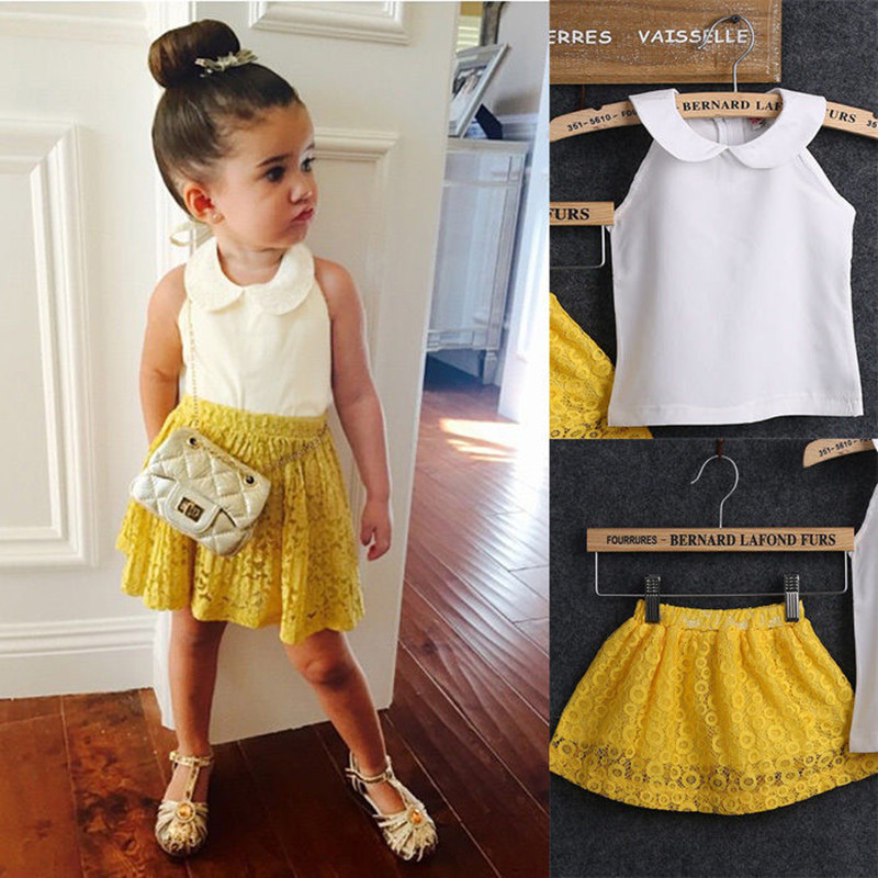 2017 Girls Sets Kid Baby Sleeveless Round Collar Top+Yellow Lace Skirts 2Pcs Suit Girls Outfits Princess girls clothing sets