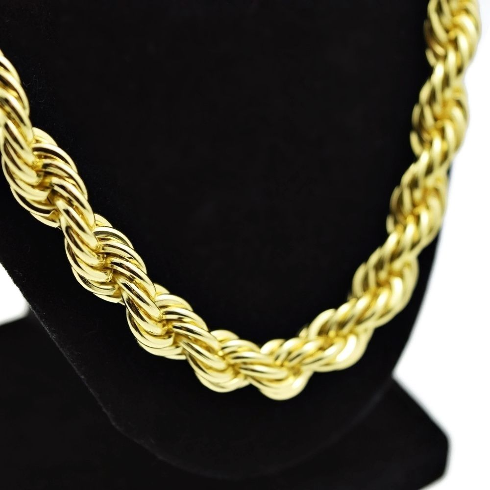 Rope Chain 24 Inch x 10 mm Gold Finish Twisted Heavy Dookie Hip Hop Necklace