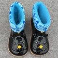 WENDYWU Дети сапоги детские девушки Дождь Сапоги теплые Носорога мультфильм дети Резиновая Мода Резиновой Обуви Малыша Дети Желе обувь черный