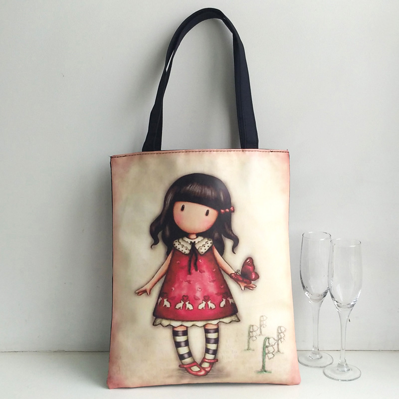 Fashion Blank Women's Handbag High Quality Canvas Shopping Bag Girl's Lovely Cartoon Printing School Bag Female Handbag