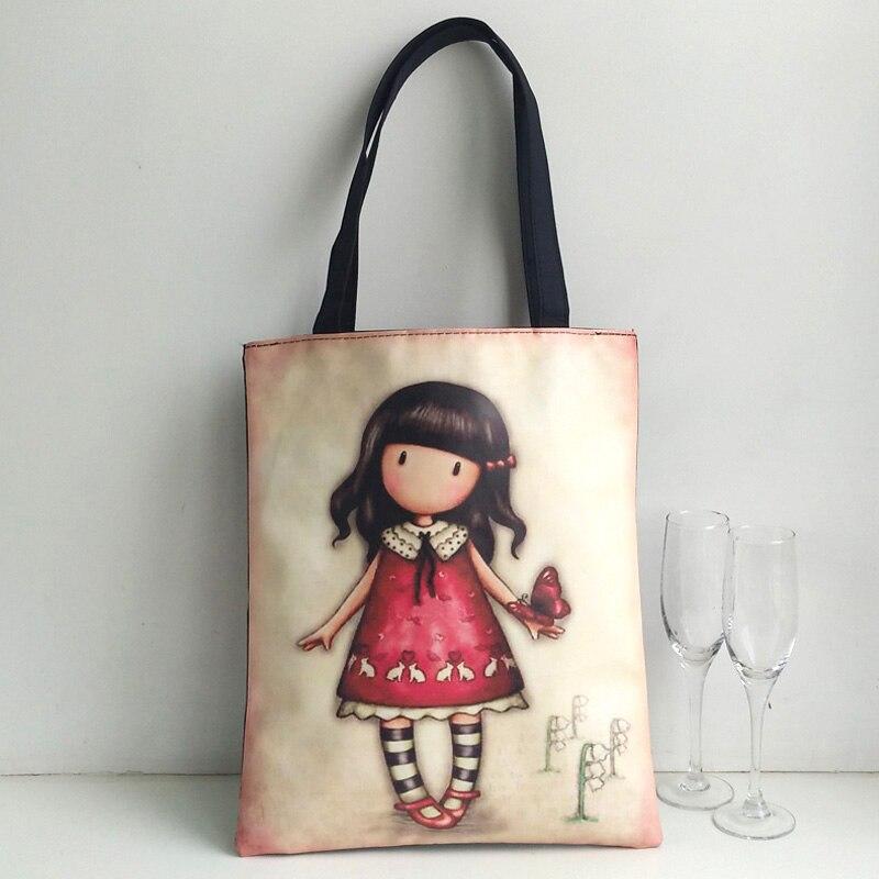 Fashion Blank Women's Handbag High Quality Canvas Shopping Bag Girl's Lovely Cartoon Printing School Bag Female Handbag