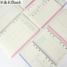K & KBOOK красочные 6 отверстия внутренний бумажный сердечник для sprial notebook A5 A6 заправка бумаги канцелярские список ежедневно еженедельно ежемесячно планировщик