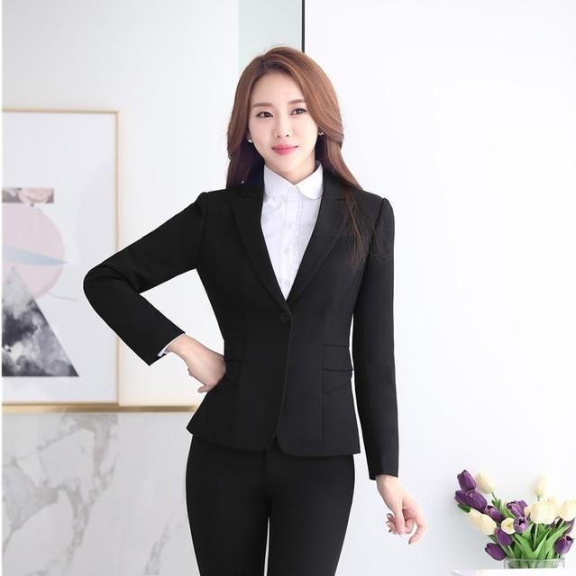 b048c4cb2c56 Formal Female Black Blazer Women Jackets Elegant Ladies Office Uniform  Style Work Wear Professional Business Clothes