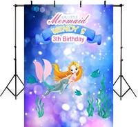fairy tale princess cartoon sea mermaid birthday bokeh photography backgrounds Vinyl cloth Computer print party backdrop