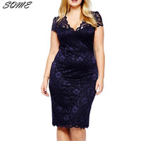 Loneyshow Women Summer Elegant Short Sleeve Retro Stretchy Knee Length Cocktail Bodycon Dress Casual Party Plus