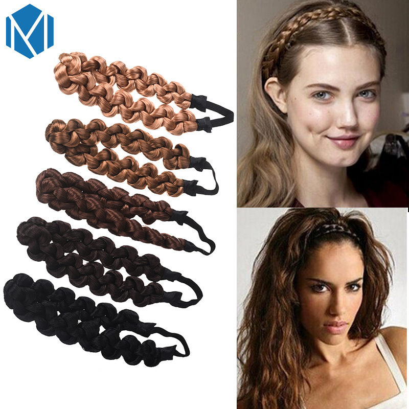 M MISM 3CM Synthetic Wig Twist Hair Bands Fashion Braids Hair Accessories Women Bohemian Plait Elastic Headband Stretch Bandana fishtail braid with hair accessory
