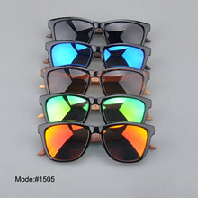 1505 fashionable spring hinged polarized Acetate optical frame wooden temple sunglasses sunshades sun glasses