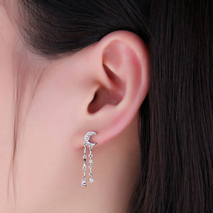 Image 3 - JewelryPalace スタームーンキュービックジルコニアブラブラドロップピアス 925 スターリングシルバーイヤリング女性韓国イヤリングファッションジュエリー