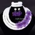Elegante Banquete de Boda Nigeriano Perlas Collar de Flores Conjunto Blanco Granos Cristalinos de La Joyería de Moda Africana Set-83
