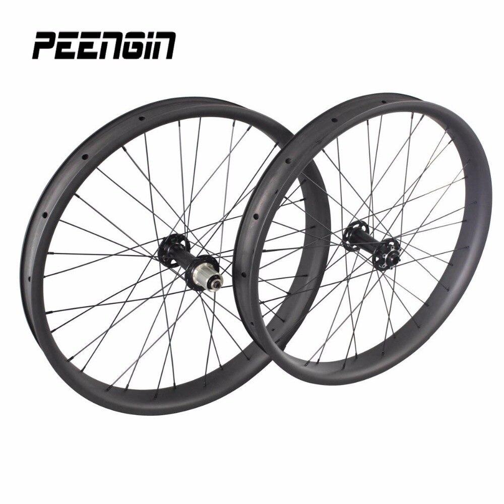 26er gros vélo carbone roues 65mm X 25mm sans crochet 26 pouces neige vélo roues 26 jante avec Powerway/Novatec/hubHubsmith moyeux de cycle