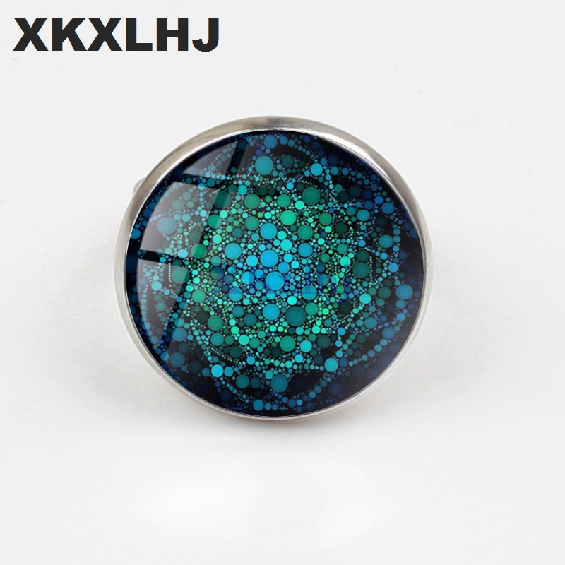 XKXLHJ Art Nouveau Ring Mandala Blue Flower of Life Ring Sacred Geometry Handmade Jewelry Female Gift in Rings from Jewelry Accessories