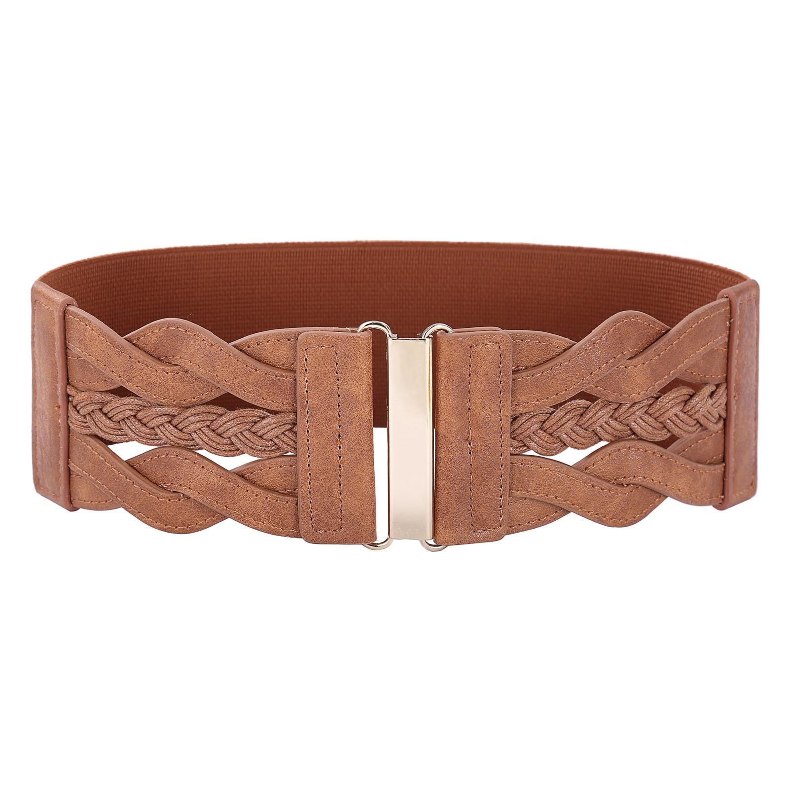 """3 """"cinturones anchos para las mujeres trenzado vestido de fiesta de noche elegante vogue cuero poliuretano elástico cinturón cintura"""