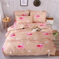 Red Flamingo Pattern Bedding Set Queen Size Bed Linen 4pcs/Set Duvet Cover Set Bed Sheet AB Side Duvet Cover 2019 Bed Polyester