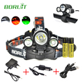 BORUIT Led Head Lamp 5000 Lumens White/Red/Green Head Light Bike Light Camping Cycling Hunting Waterproof Headlamp with Battery