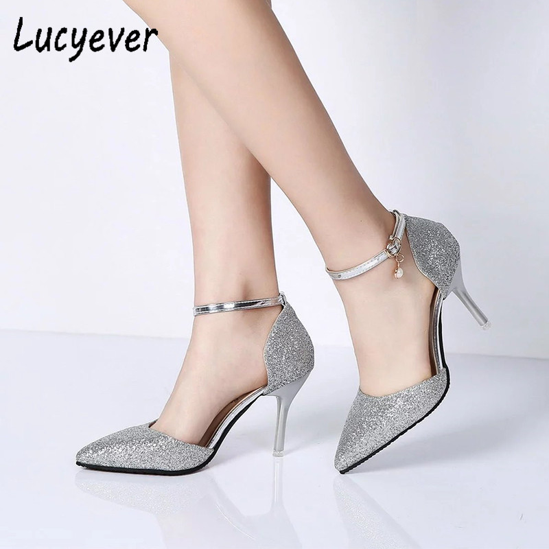 Fashion Buckle Crystal Bling Pumps Women Elegant Thin High Heels Point toe Party Wedding Shoes Woman Sexy Bridal Pumps Stiletto