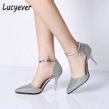 681f95ee6 Lucyever Fivela Moda Cristais de Bling Bombas Mulheres Elegantes Saltos  Altos Finos Apontar do dedo do pé Partido Sapatos de Cas.