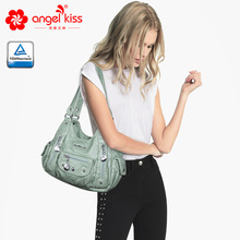 Many Multi Pocket Vintage Soft Shoulder Bags for Women 2019 Luxury Chic Washed Shopping Tote Ladies Hobo Crossbody