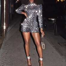 a0a6108374 BleamFly Sequin Playsuit Women Shorts Long Sleeve Rompers 2018 Ladies  Turtleneck Sexy