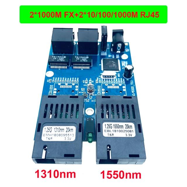 10/100/1000M 기가비트 이더넷 스위치 이더넷 광 미디어 컨버터 단일 모드 2 RJ45 UTP 및 2 SC 광섬유 포트 보드 PCB